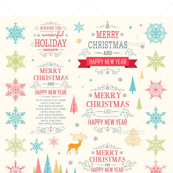 Christmas Winter Elements Vector Set