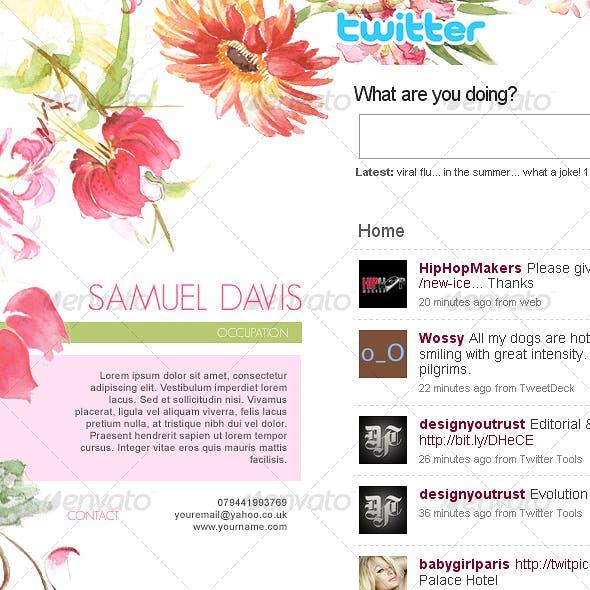 Elegant Watercolor Flowers Twitter Background