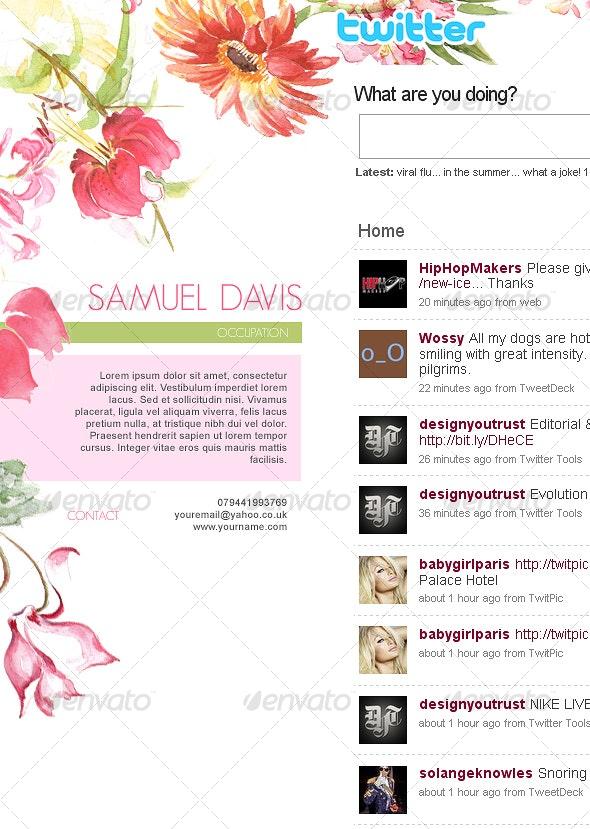 Elegant Watercolor Flowers Twitter Background - Miscellaneous Web Elements