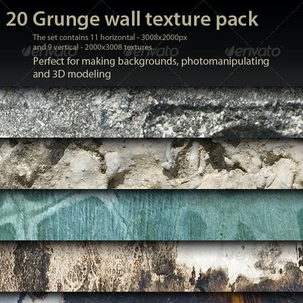 20 Grunge Wall Textures pack