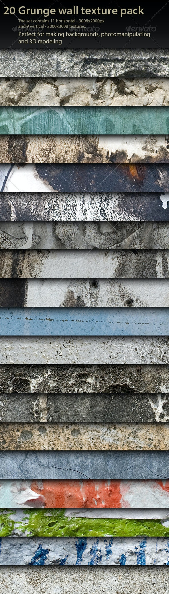 20 Grunge Wall Textures pack - Industrial / Grunge Textures