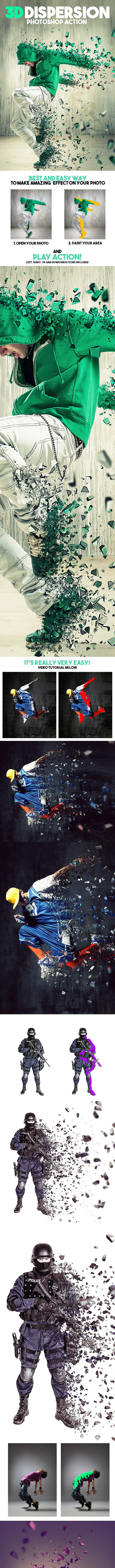 3D Dispersion Photoshop Action - Photo Effects Actions