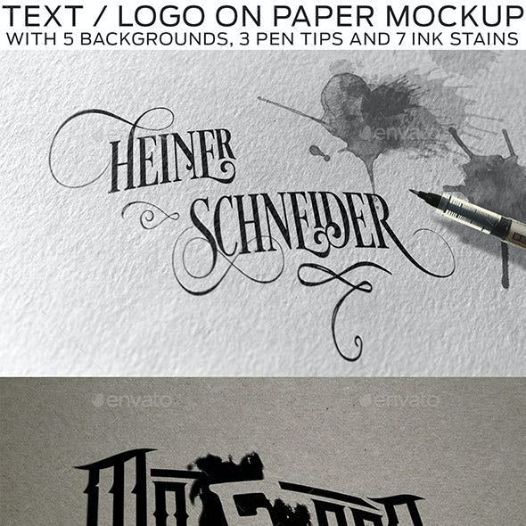 Text or Logo on Paper with Pen and Stains Mockup