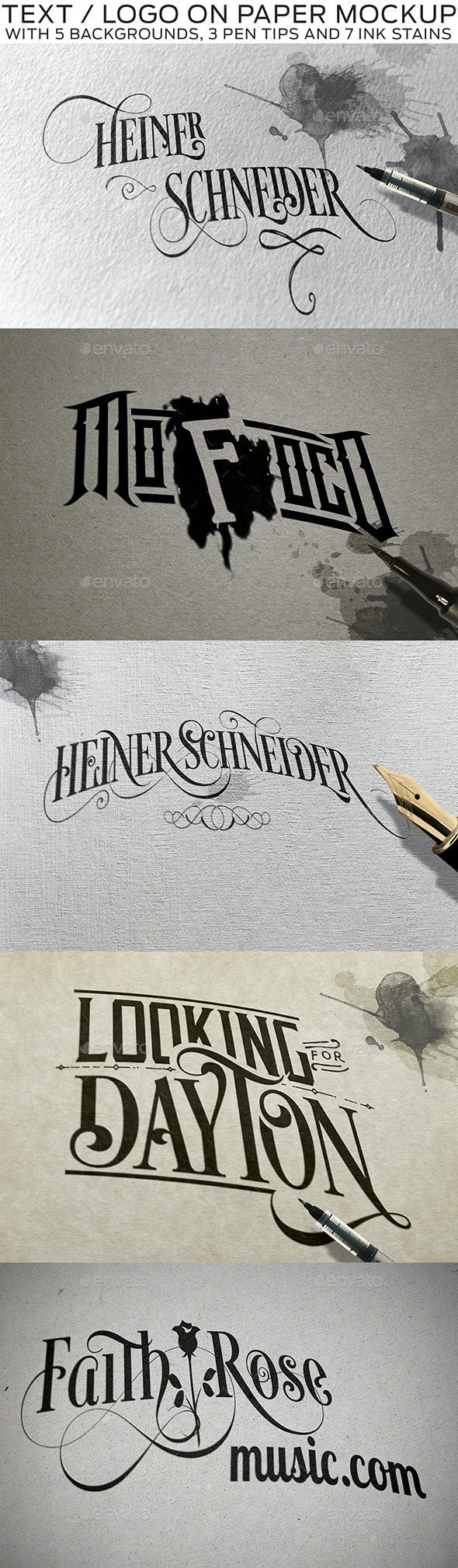 Text or Logo on Paper with Pen and Stains Mockup - Miscellaneous Print