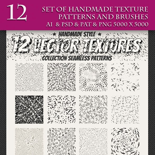 Set of Handmade Texture Pattern and Brushes.