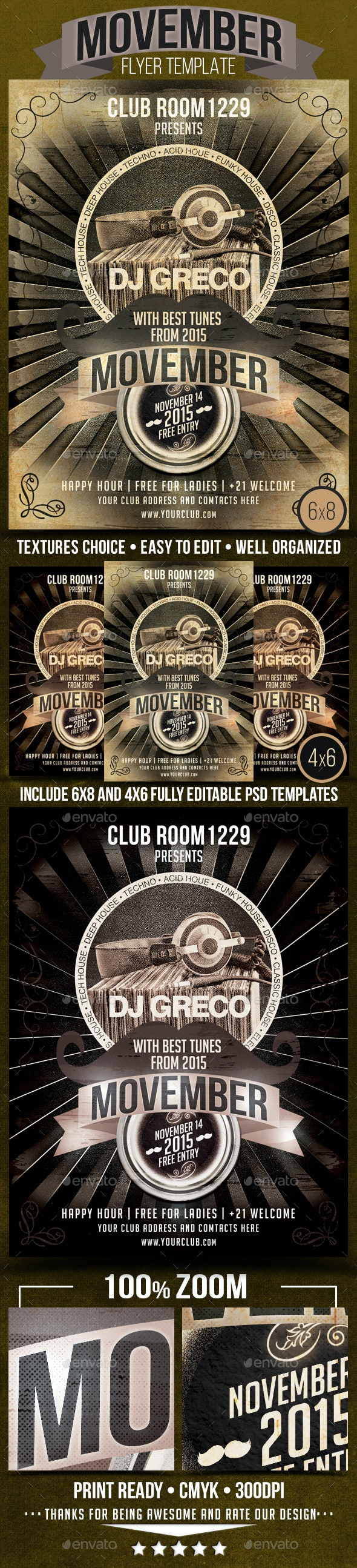 Movember Guest DJ Flyer Template - Clubs & Parties Events
