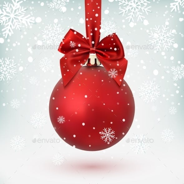 Red Christmas Ball With Ribbon And a Bow.