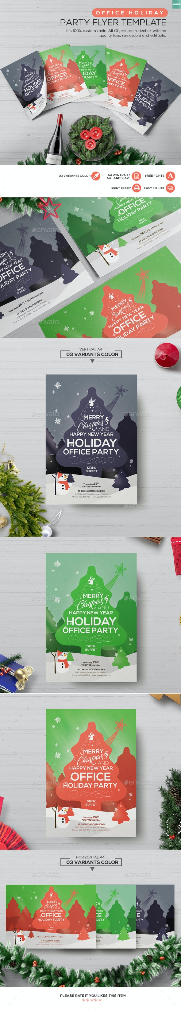 Office Holiday Party - Flyer Template - Holidays Events