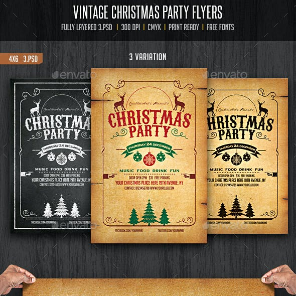 Vintage and Chalkboard Christmas Party Flyer