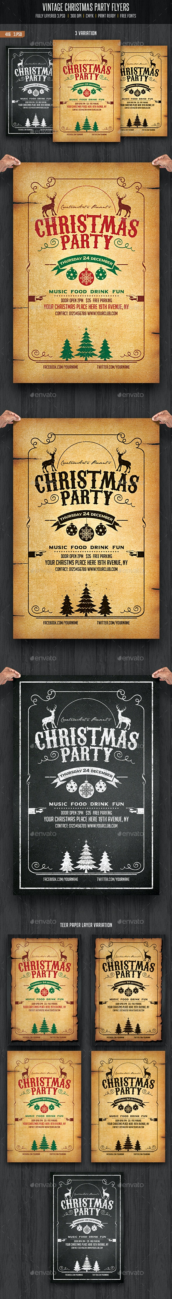 Vintage and Chalkboard Christmas Party Flyer - Events Flyers
