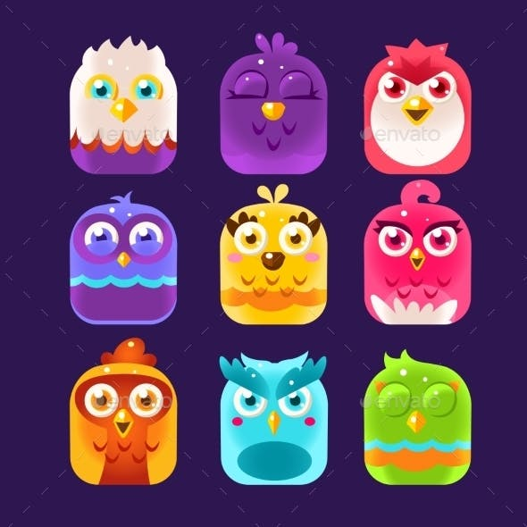 Owl Icons Set. Vector Illustration