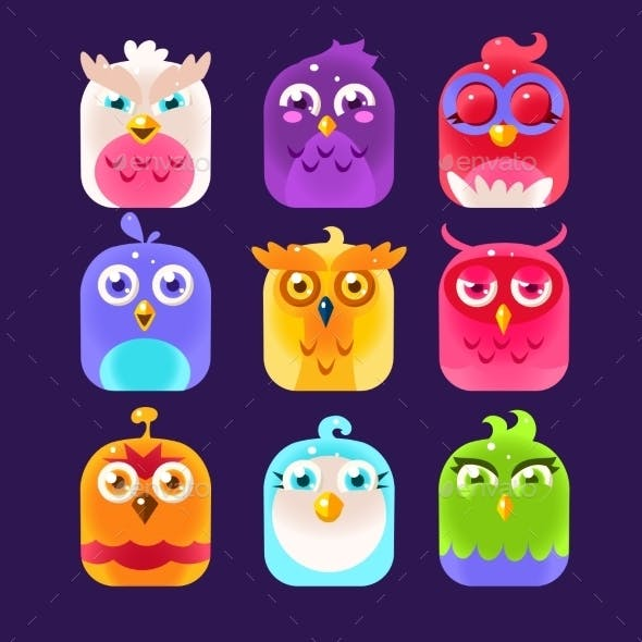 Owl Icon Collection. Vector Illustration