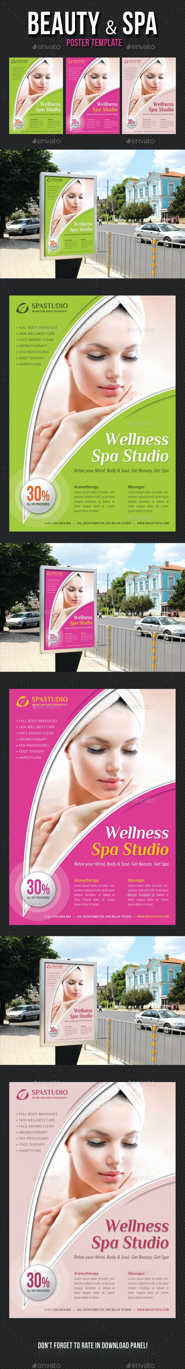 Beauty and Spa Poster Template V14 - Signage Print Templates