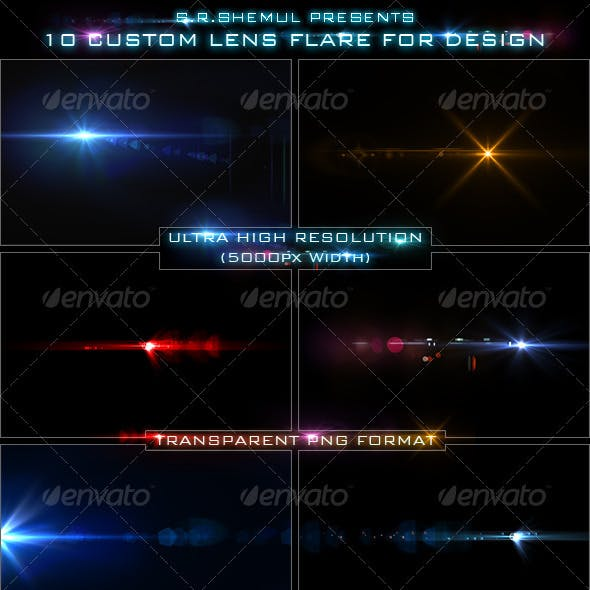 10 Custom Lens Flare for Design/Designer
