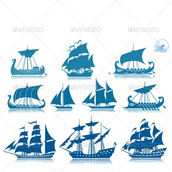 Sailing Ships Icon Set