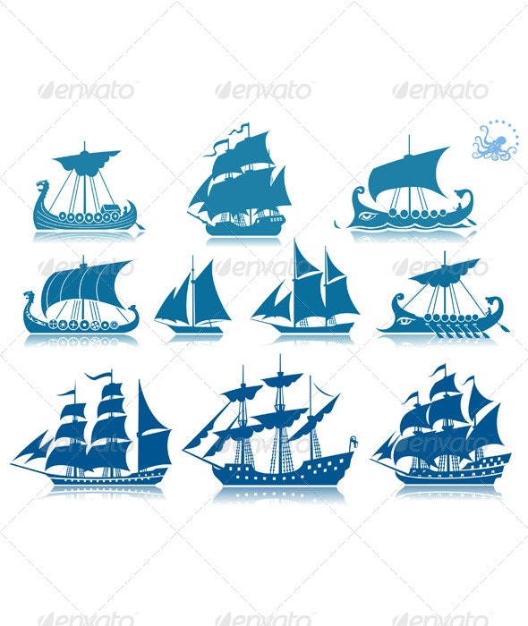 Sailing Ships Icon Set - Travel Conceptual