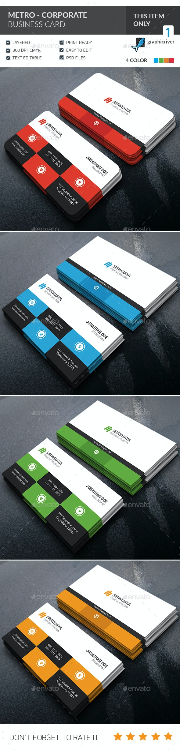 Metro Corporate Business Card - Corporate Business Cards