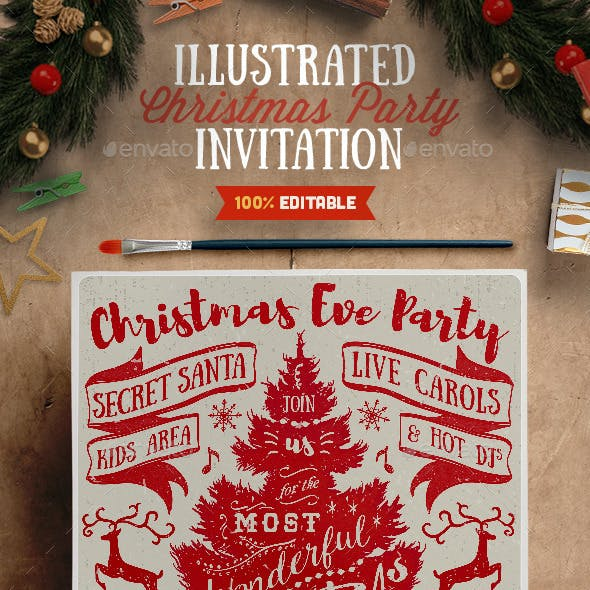 Illustrated Christmas Party Flyer Invitation