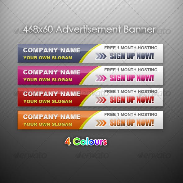 Advertising banner 468x60 in 4 Colours