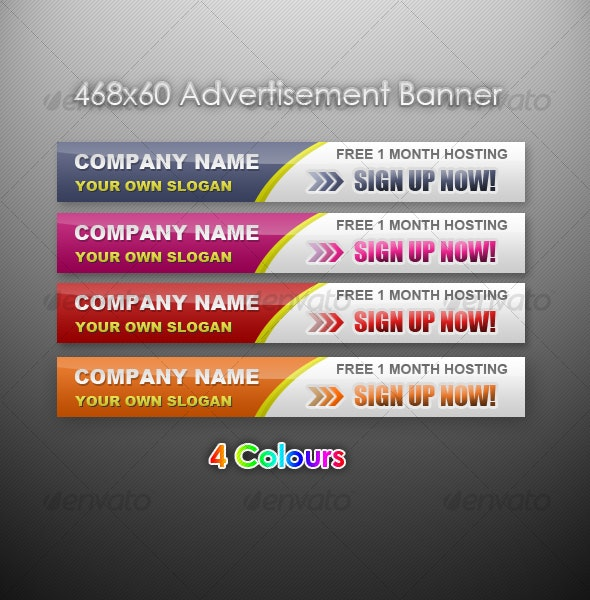 Advertising banner 468x60 in 4 Colours - Web Elements