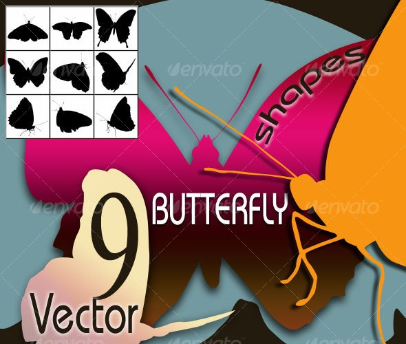 9 Vector Buttefly Shapes - Animals Characters