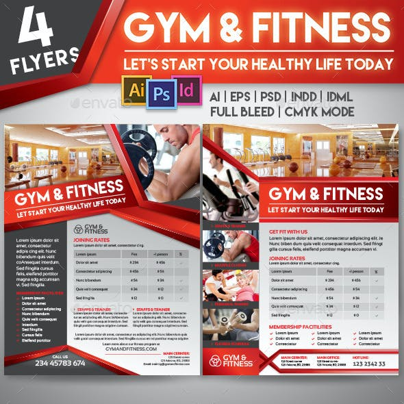 Fitness Gym Center 4 Flyer Templates