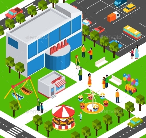 Shopping Mall Center Isometric Banner - Buildings Objects