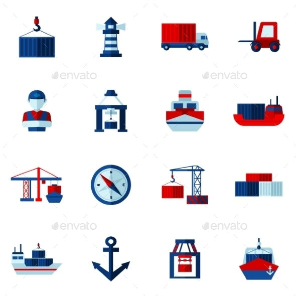 Seaport Flat Icons  Set