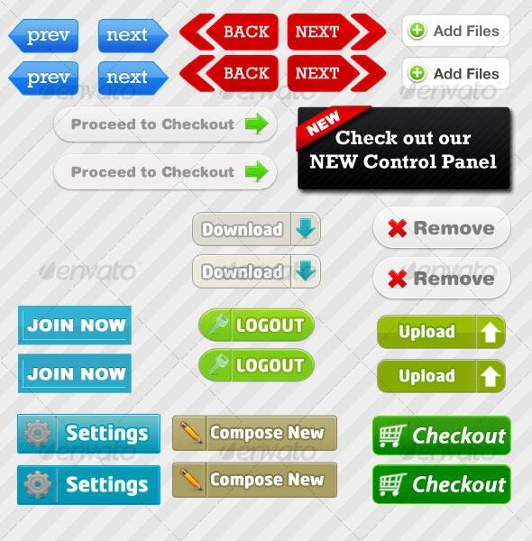 15 Web Buttons - Buttons Web Elements