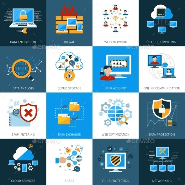 Network Security Icons Set