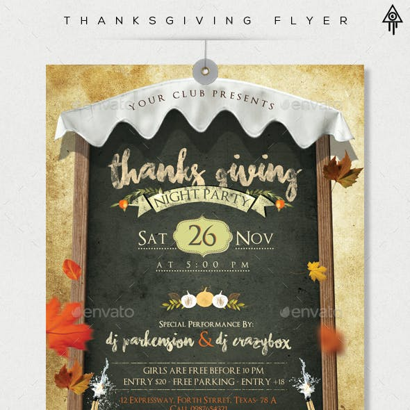 Thanksgiving Party Flyer and Facebook Cover