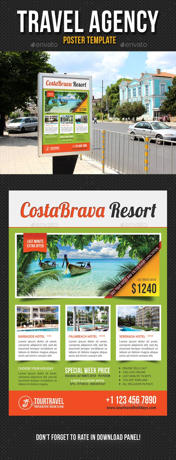 Travel Agency Poster Template V01 - Signage Print Templates