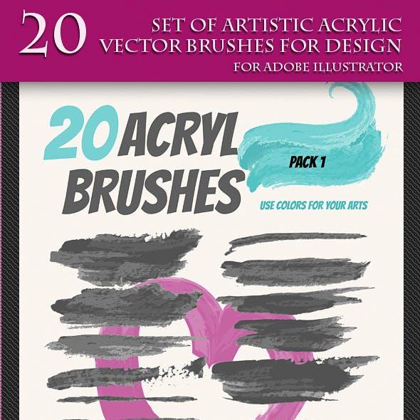 Set of Artistic Acrilyc Vector Brushes for Design.