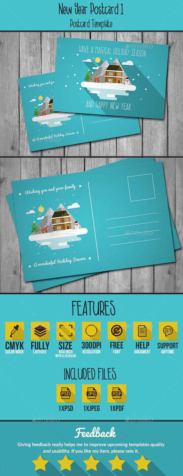 Flat New Year Postcard - Holiday Greeting Cards