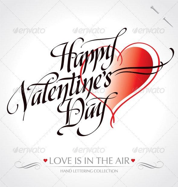 'Happy Valentine's Day' Hand Lettering - Valentines Seasons/Holidays