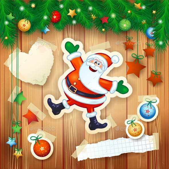 Christmas Background with Happy Santa on Wood