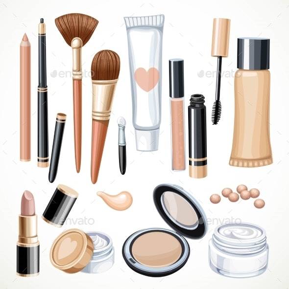 Set Of Cosmetics Objects Pencil, Brush, Blush - Objects Vectors
