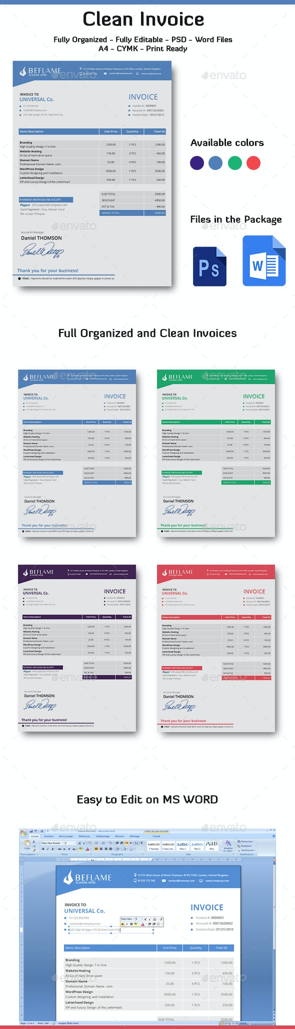 Invoice Word - Proposals & Invoices Stationery