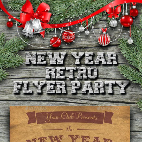 New Year Retro Party Flyer
