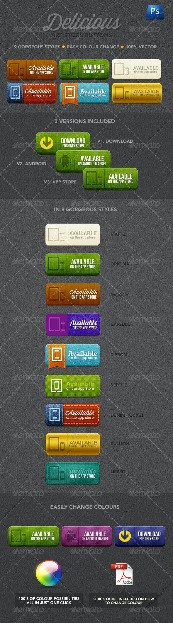 Delicious App Store Buttons - Buttons Web Elements