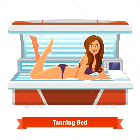 Young Pretty Woman In Tanning Bed. Artificial Tan
