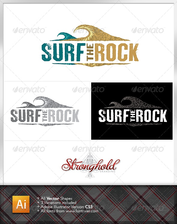 Surf The Rock Logo - Nature Logo Templates