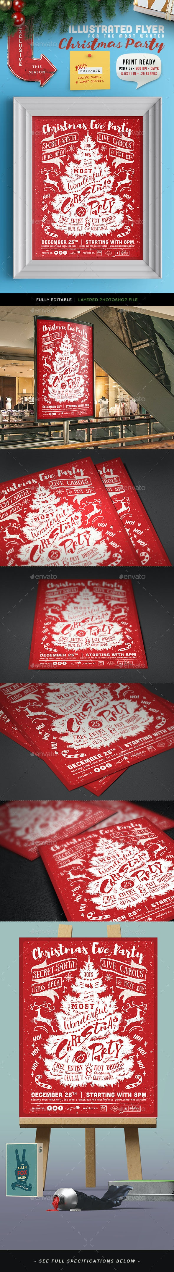Illustrated Christmas Party Invitation II - Events Flyers