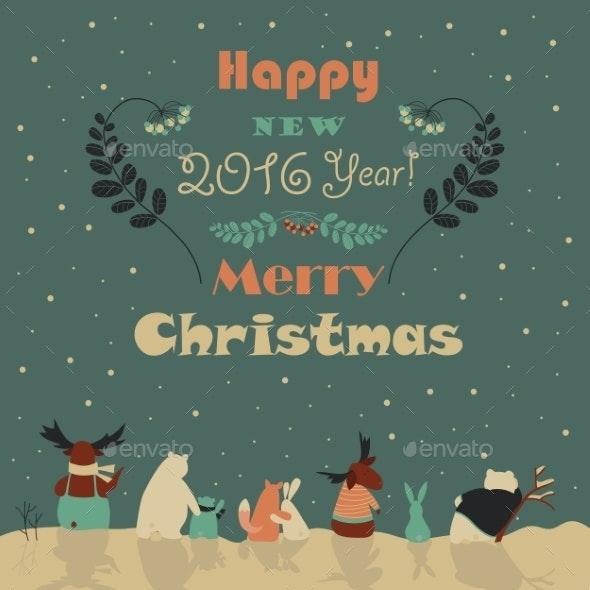 Animals Celebrating Christmas - Christmas Seasons/Holidays