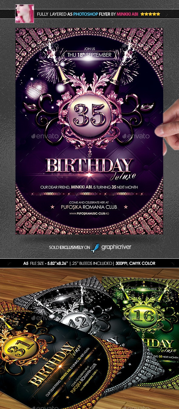 Birthday Deluxe Poster/Flyer - Events Flyers