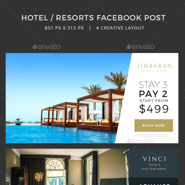 Hotel / Resorts Facebook Post banners