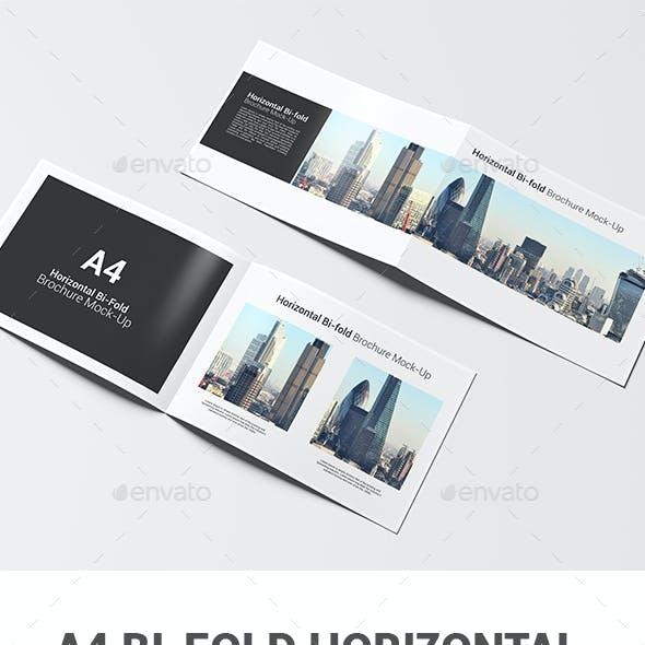 A4 Bi-fold Horizontal Brochure Mock-Up