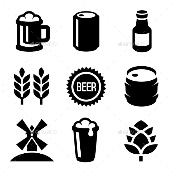 Beer Icons Set On White Background. Vector