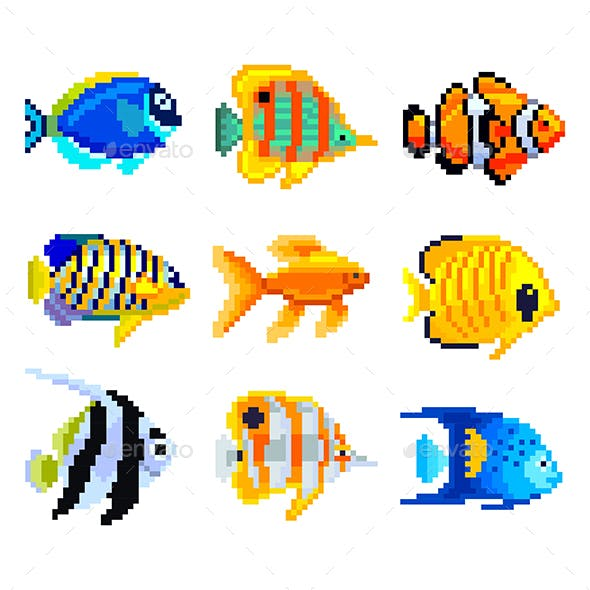 Pixel Exotic Fish for Games Icons Vector Set