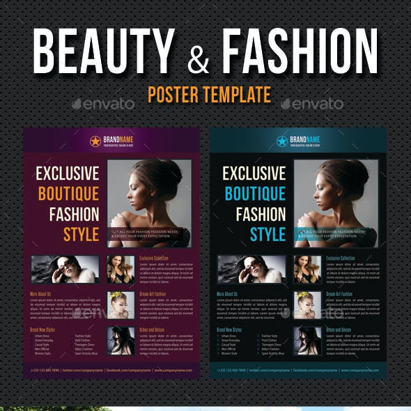 Beauty and Fashion Poster Template V09